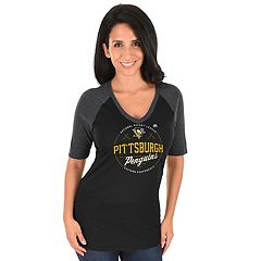 Women's Majestic Pittsburgh Penguins Behind the Win Tee