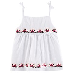 Girls 4-8 Carter's Embroidered Gauze Top
