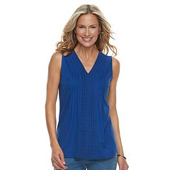 Women's Croft & Barrow® Pintuck Crochet-Trim Tank