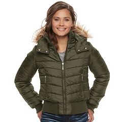 Juniors' J-2 Faux-Fur Hood Puffer Bomber Jacket