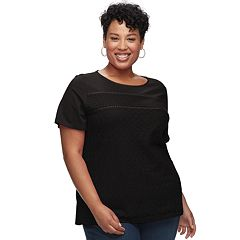 Plus Size Croft & Barrow® Mixed Lace Short Sleeve Tee