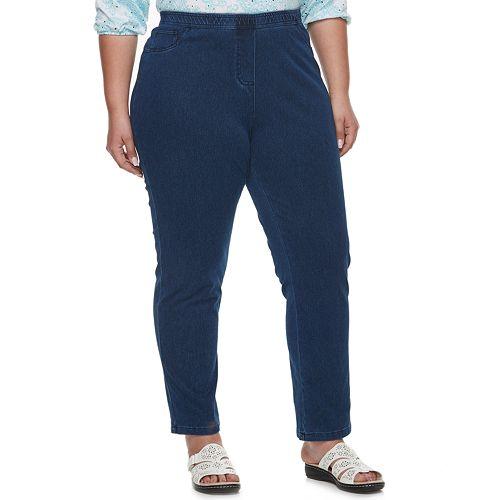 Plus Size Cathy Daniels Pull-On MidRise Denim Pants