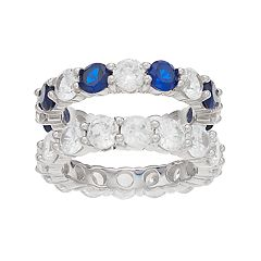Sterling Silver Lab-Created Sapphire & Cubic Zirconia Stack Ring Set