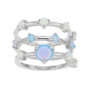 Sterling Silver Lab-Created Opal 3 Piece Stack Ring Set