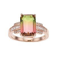 18k Rose Gold Over Silver Lab-Created Watermelon Tourmaline Ring