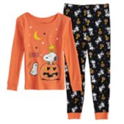 Toddler Girl Peanuts Snoopy & Woodstock Halloween Top & Bottoms Pajama Set