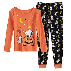 Toddler Girl Peanuts Snoopy & Woodstock Glow-in-the-Dark Halloween Top & Bottoms Pajama Set