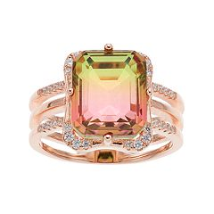 18k Rose Gold Over Silver Lab-Created Watermelon Tourmaline Triple Shank Ring