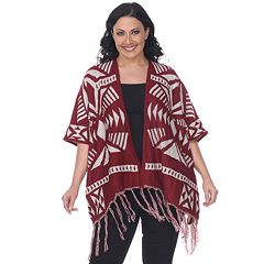 Plus Size White Mark Tribal Poncho