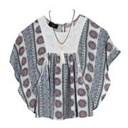 Girls 7-16 IZ Amy Byer Crepon Poncho Top with Necklace
