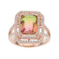 18k Rose Gold Over Silver Watermelon Cubic Zirconia Tiered Ring