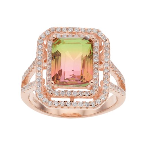 18k Rose Gold Over Silver Lab-Created Watermelon Tourmaline Tiered Ring