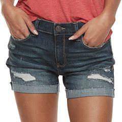 Juniors' Mudd® Destructed Cuffed Jean Shorts