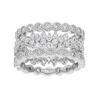Sterling Silver Cubic Zirconia 3 pc Stack Ring Set