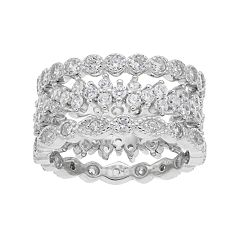 Sterling Silver Cubic Zirconia 3 Piece Stack Ring Set