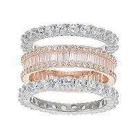 Two Tone Sterling Silver Cubic Zirconia 3 pc Stack Ring Set