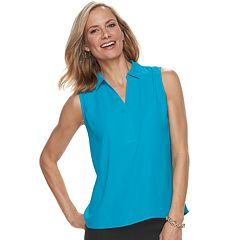 Petite Dana Buchman Sleeveless Collared Top