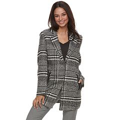 Juniors' J-2 Plaid Wool Trench Coat