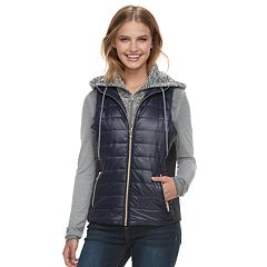 Juniors' J-2 Knit Hooded Puffer Vest