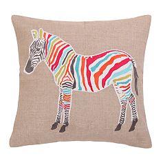 Mirage Zebra Sparkle Burlap Throw Pillow