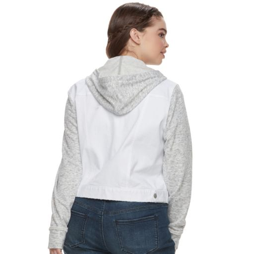 Juniors' Plus Size Mudd® Knit-Sleeve Denim Jacket
