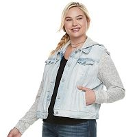 Juniors' Plus Size Mudd® Knit-Sleeve Denim Jacket