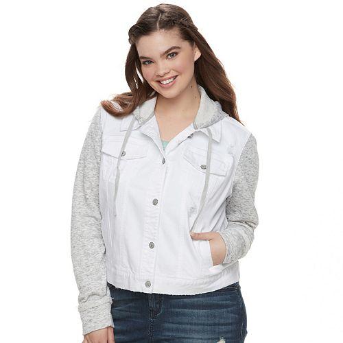 71dac93c56e63 Juniors  Plus Size Mudd® Knit-Sleeve Denim Jacket