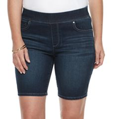Petite Croft & Barrow® Pull-On Bermuda Jean Shorts