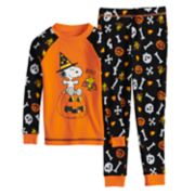 Toddler Boy Peanuts Snoopy & Woodstock Glow-in-the-Dark Halloween Top & Bottoms Pajama Set