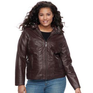 Juniors' Plus Size Jou Jou Faux-Leather Jacket