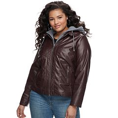 Juniors' Plus Size Jou Jou Faux-Leather Jacket