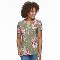 Petite Croft & Barrow® Jacquard Henley Top