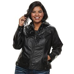 Juniors' Plus Size J-2 Removable Hood Faux-Leather Jacket