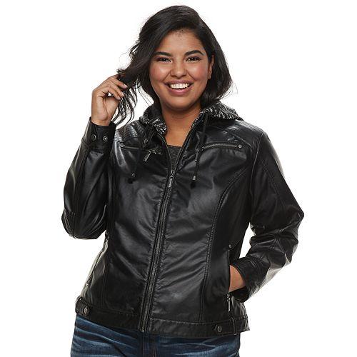 4b86b715c3fba Juniors  Plus Size J-2 Removable Hood Faux-Leather Jacket