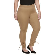 Plus Size Utopia by HUE Side-Laced Twill Skimmer Leggings