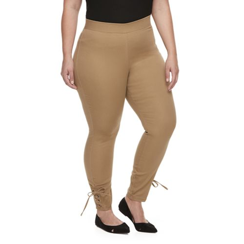 953451f828afb Plus Size Utopia by HUE Side-Laced Twill Skimmer Leggings
