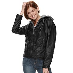 Juniors' J-2 Hooded Faux-Leather Moto Jacket