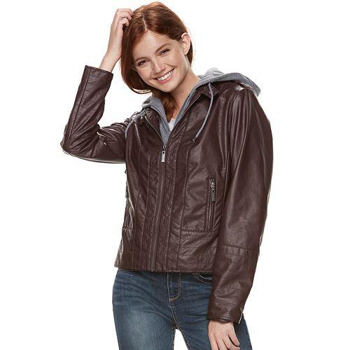 Juniors' J-2 Hooded Faux-Leather Moto Jacket