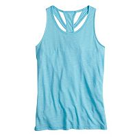 Girls 7-16 SO® Blue Easy Back Cutout Performance Tank Top