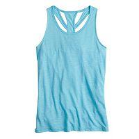 Girls 7-16 SO® Blue Easy Back Cutout Performance Tank Top