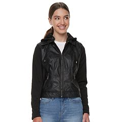 Juniors' J-2 Knit-Sleeeve Hood Faux-Leather Jacket