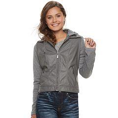 Juniors' J-2 Knit-Sleeeve Hood Faux-Leather Jacket