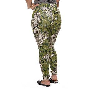 Plus Size Utopia by HUE Floral Palm Print Denim Leggings