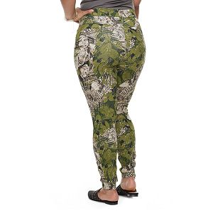 Plus Size Utopia by HUE Floral Palm Print Denim Leggings