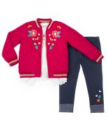Girls 4-6x Little Lass Quilted Bomber Jacket, Ruffled Top & Embroidered Jeggings Set