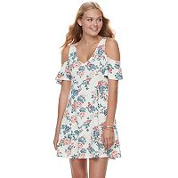 Juniors' Almost Famous Floral Cold-Shoulder Dress