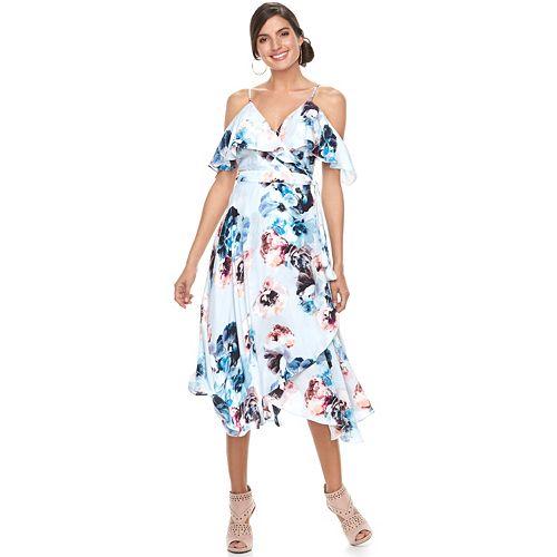 Women's Jennifer Lopez Cold-Shoulder Faux-Wrap Dress