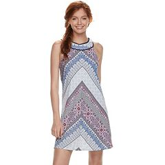 Juniors' Three Pink Hearts Halter Shift Dress