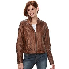 Juniors' J-2 Garment Dyed Faux-Leather Jacket