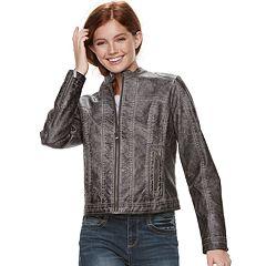 Juniors' J-2 Garment Dyed Faux-Leather Jacket